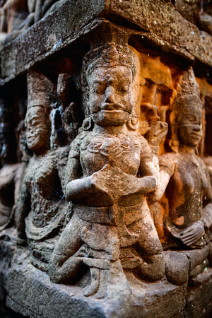 bas relief: Bas reliefs in Terrace of the Leper King in Angkor Archaeological area in Cambodia