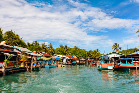 Traditional floating village on Koh Rong island in Cambodia Archivio Fotografico