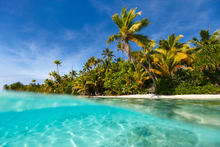 Stunning One Foot island in Aitutaki, tropical island with palm trees, white sand, turquoise ocean water and blue sky at Cook Islands, South Pacific