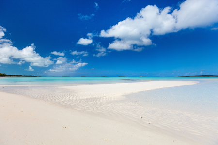 Beautiful tropical beach at Exuma Bahamas Stock Photo
