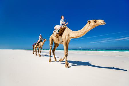 熱帯の白い砂浜でラクダに乗って家族の母親と子供たち 写真素材 - 85498858
