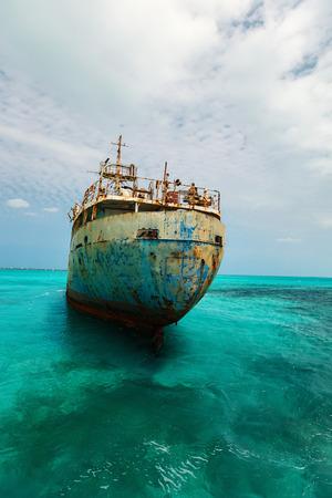 Old ship wreck at Caribbean sea
