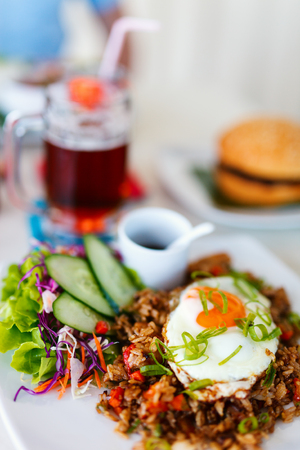 Close up of delicious fried rice dish served for lunch Stock Photo