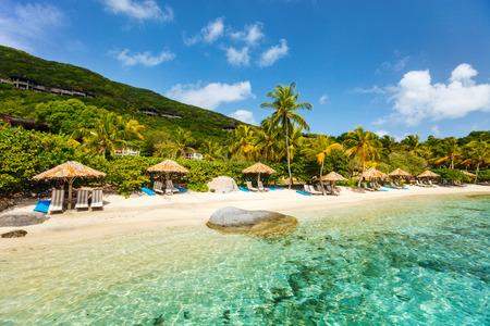 야자수, 하얀 모래, 청록색 바다 물과 카리브해에서 영국령 버진 아일랜드에서 푸른 하늘 아름 다운 열 대 해변 스톡 콘텐츠 - 87332480
