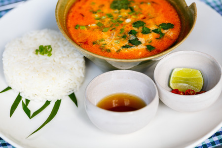 Delicious Asian Tom Yum soup served for lunch in restaurant