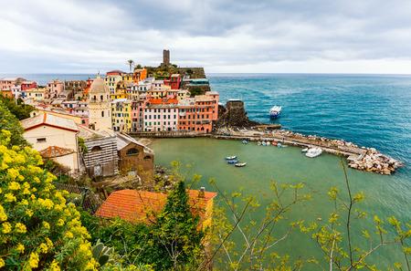 Scenic view of colorful village Vernazza, Cinque Terre, Italy Stock Photo