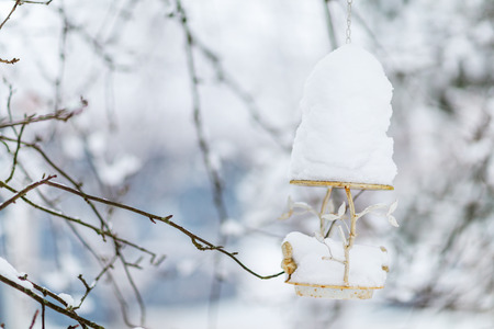 White Christmas decoration bird feeder at winter forest