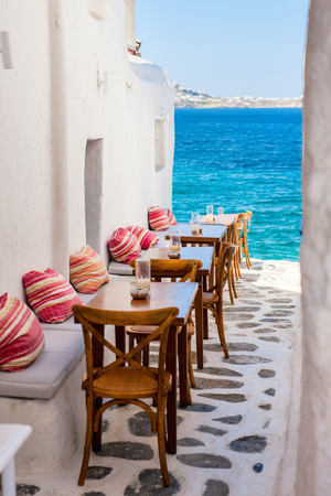 Typical greek traditional village with white walls and colorful doors on Mykonos Island, Greece, Europe Reklamní fotografie