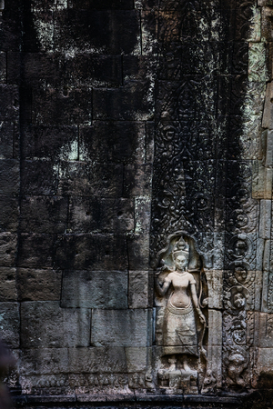 Bas reliefs in Preah Khan in Angkor Archeological area in Cambodia