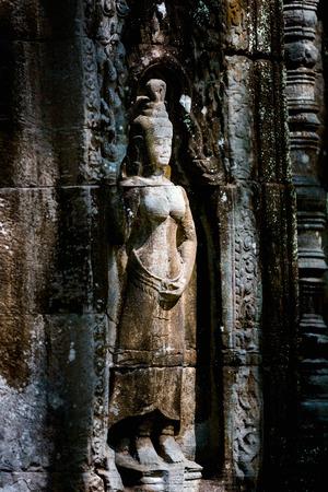 캄보디아의 앙코르 고고학 지역의 프레아 칸 (Presah Khan)에있는 Bas reliefs 스톡 콘텐츠 - 90338321