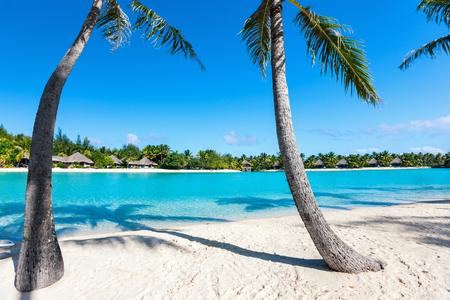 Beautiful beach on Bora Bora island in French Polynesia Stock Photo