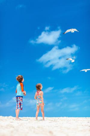 2 명의 작은 어린이와 해변에 갈매기의 무리
