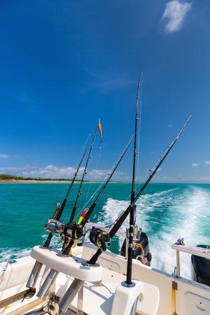 Boat deck at deep sea fishing