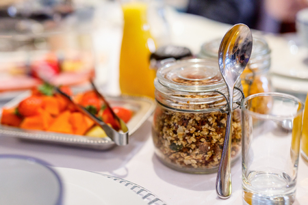 Delicious breakfast with fresh homemade muesli and fruits Stock fotó