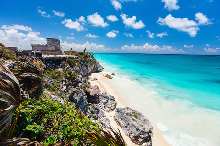 Mayan ruins and beautiful Caribbean coast in Tulum Mexico