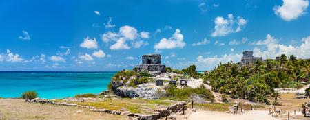 마야 유적과 툴룸 멕시코의 아름다운 카리브 해안 스톡 콘텐츠