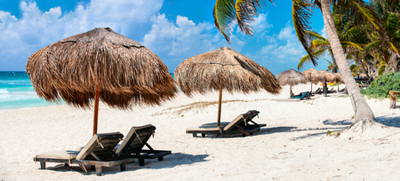 Tulum 멕시코의 아름 다운 카리브 해안의 파노라마 스톡 콘텐츠