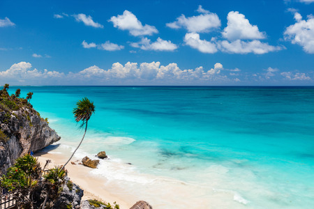 Stunning Caribbean beach near Tulum ruins in Mexico