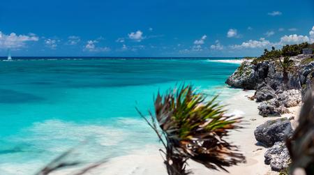 Stunning Caribbean beach near Tulum ruins in Mexico
