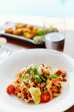 Delicious fish, shrimp and scallop salad served for lunch or dinner