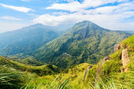 Breathtaking views over mountains and tea plantations from Little Adams peak in Ella Sri Lanka