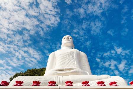 White Buddha statue in Bahirawakanda temple in Kandy Sri Lanka