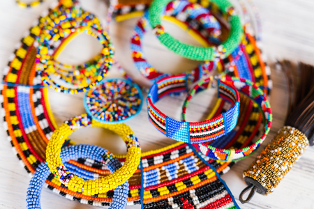 Colorful traditional jewelry of Masai tribe Imagens