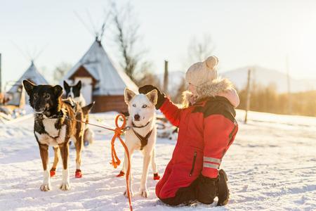 Adorable niña tener un abrazo con perros de trineo husky en una granja en el norte de Noruega