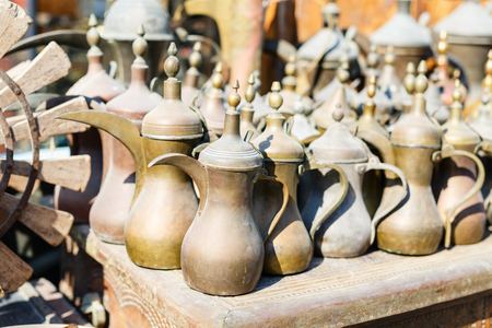 Close up details of flea market stall in Doha Qatar Stock Photo