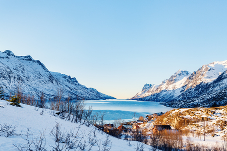 Winter landscape of breathtaking fjords scenery of Senja island in Northern Norway Standard-Bild