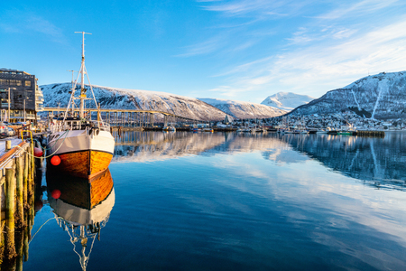 Beautiful winter landscape of snow covered town Tromso in Northern Norway Stok Fotoğraf