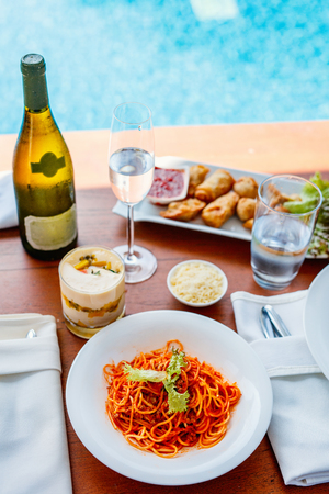 Delicious spaghetti bolognese served for lunch at luxury resort or restaurant Stock Photo