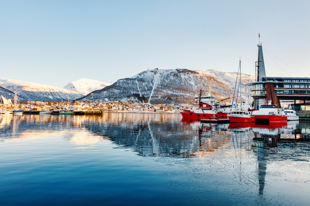 Beautiful winter landscape of snow covered town Tromso in Northern Norway Stock fotó