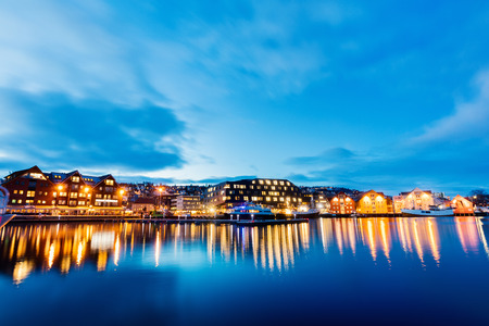 Beautiful town of Tromso in Northern Norway at dusk twilight Stock Photo