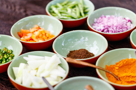 Spices cooking ingredients for making curry