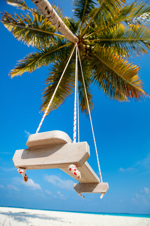 Palm with a swing on a tropical white sand beach at Maldives Banco de Imagens