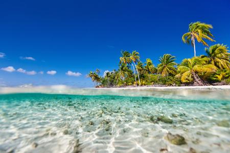 Belle île tropicale à l'atoll de Tikehau en Polynésie française Banque d'images