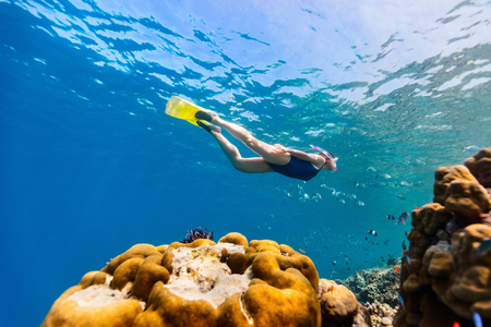 Underwater photo of woman snorkeling and free diving in a clear tropical water at coral reef