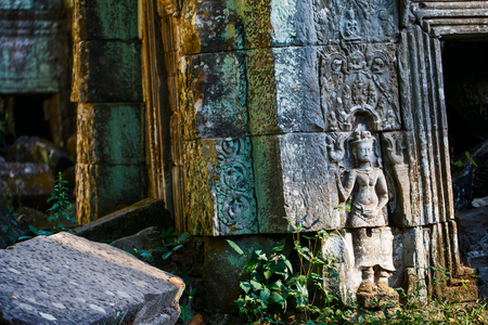 Bas reliefs in Ta Prohm in Angkor Archaeological area in Cambodia 版權商用圖片