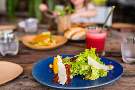 Delicious fresh caesar salad with bacon served for lunch at restaurant Reklamní fotografie