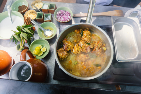 Preparation of traditional Sri Lankan curry dish with tender chicken breast at cooking class Stok Fotoğraf - 102213251