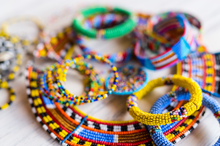 Colorful traditional jewelry of Masai tribe Stock Photo