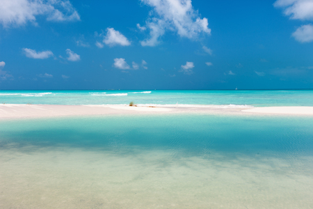Beautiful white sand beach and Caribbean sea in Cuba