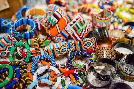 Colorful traditional jewelry of Masai tribe Standard-Bild