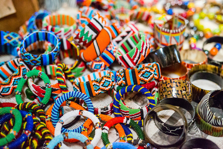 Colorful traditional jewelry of Masai tribe Stok Fotoğraf