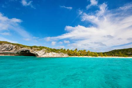 Beautiful tropical coast at Exuma Bahamas Stock Photo