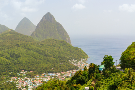 Iconic view of Piton mountains near small town of Soufriere on St Lucia island in Caribbean