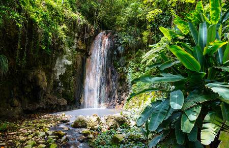 Beautiful landscape of Diamond waterfall on Saint Lucia island in Caribbean Stock Photo