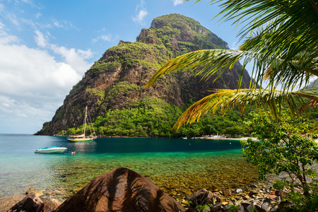 Beautiful view of Petit Piton mountain on St Lucia island in Caribbean