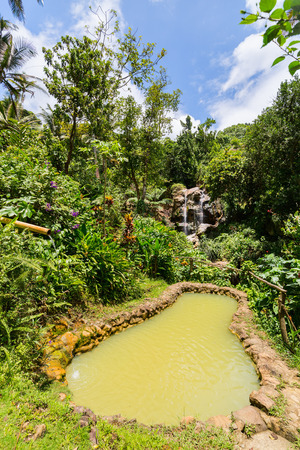Beautiful landscape of mud bath and waterfalls on St Lucia island in Caribbean Stock Photo